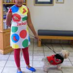 Twister girl with ladybug dog