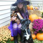 Witch with two dogs